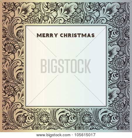 Silver vintage frame for congratulations on Christmas and New Year