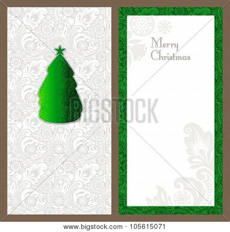 Set of vertical invitation for greeting happy new year and christmas ornaments