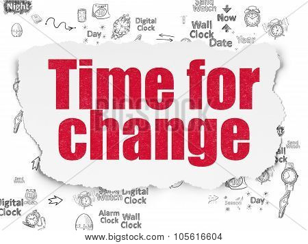 Timeline concept: Time for Change on Torn Paper background