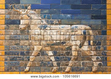 One Of The Aurochs From The Ishtar Gate Of Babilon In The Pergamon Museum, Berlin