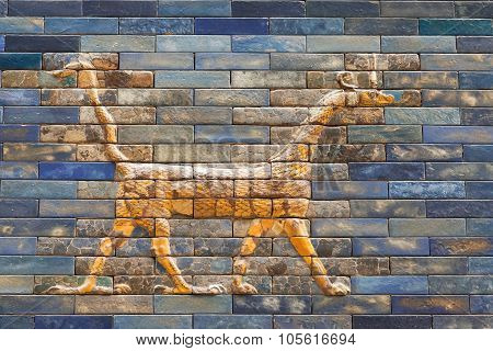 One Of The Dragons From The Ishtar Gate Of Babilon In The Pergamon Museum, Berlin