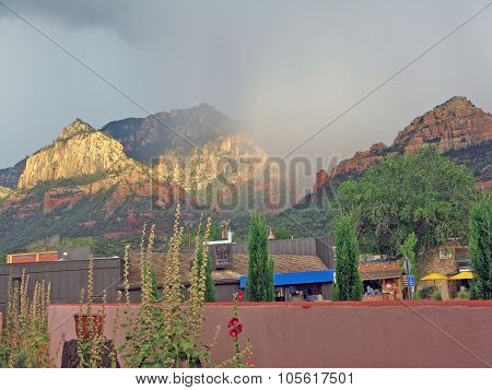 Red rocks rainbow and urban life