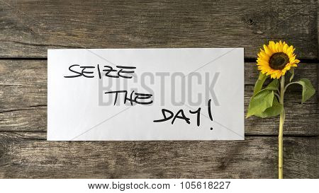 Seize The Day Message Written On White Card