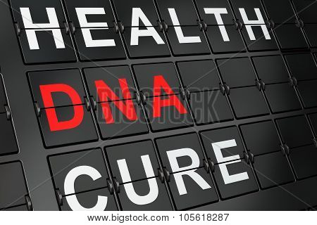 Health concept: DNA on airport board background