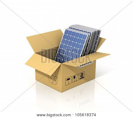 Concept Of Alternative Energy. Stack Of Solar Battery Panels In The Cardboard Box. Enviroment Protec