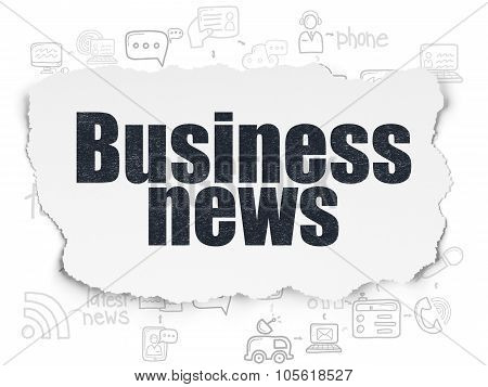 News concept: Business News on Torn Paper background