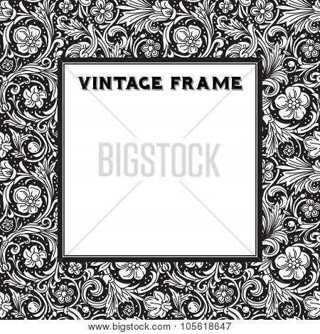 Black and white vector frame baroque.