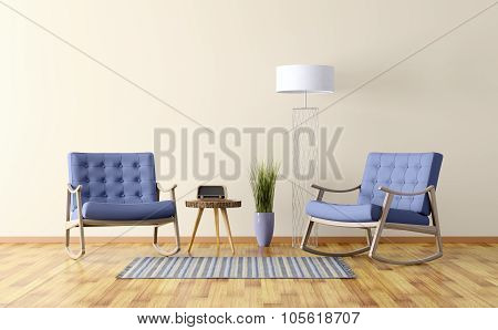 Interior Of A Room With Two Rocking Chairs 3D Render