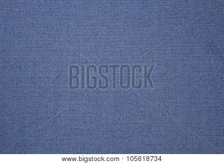 Sheet Of Blue Cotton Fabric With A Pronounced Texture
