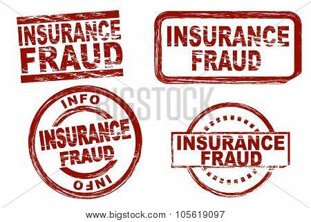 Set of stylized red ink stamps showing the term insurance fraud. All on white background.