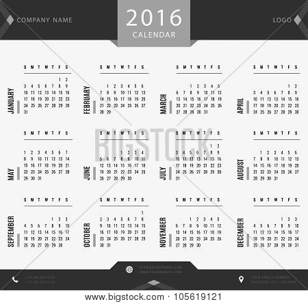 2016 calendar template for companies and private use