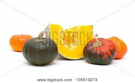 Pumpkin Close Up Isolated On White Background.