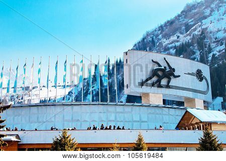 Famous skating rink Medeo in Almaty, Kazakhstan and mountains