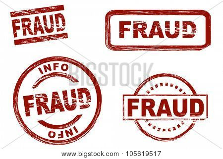 Set of stylized red ink stamps showing the term fraud. All on white background.