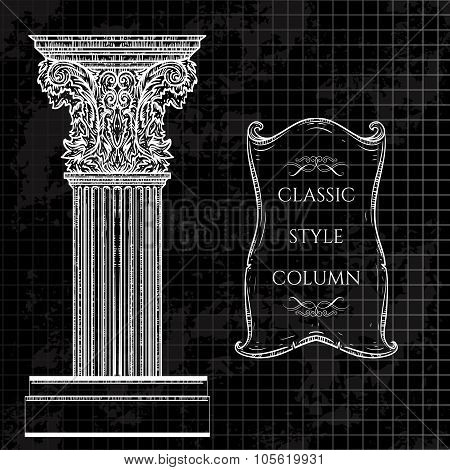 Antique and baroque classic style column and ribbon banner vector set. Vintage architectural details