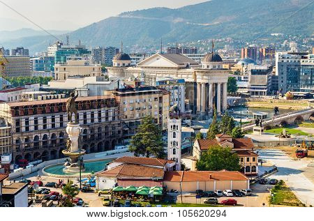 Aerial View Of The City Centre Of Skopje - Macedonia