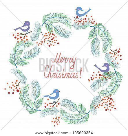 Christmas Card With Wreath And Birds Retro Design