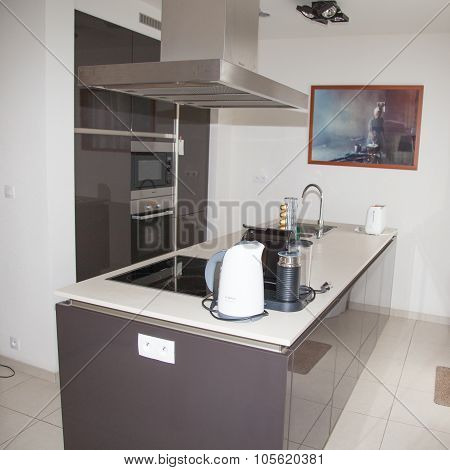 Kitchen, Interior, Clean, Place, House, Home, Inside, Modern, Induction Cooker,  White, Sink,  Workt