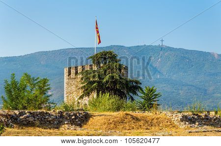 Tower Of The Skopje Fortress And The Millennium Cross - Macedonia