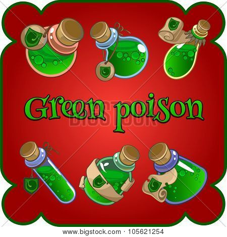 Bottles with green poison on a red background