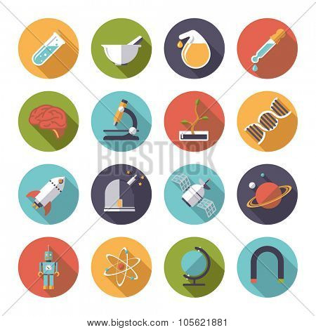 Circular science and research icons vector set. Collection of 16 flat design science and research themed vector icons in circles