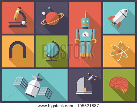 Science, research and engineering vector illustration. Horizontal flat design illustration with science, engineering, research and technology icons