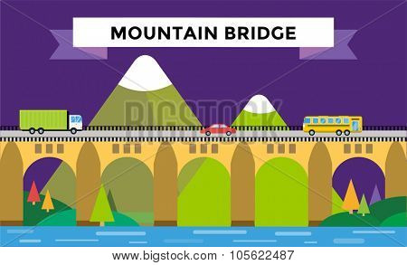 Mountain bridge landscape vector. Bridge outdoor illustration. Vector bridge silhouette mountain nature. Travel background illustration . Travel vector. Cars, road, bridge, outdoor, travel, transport