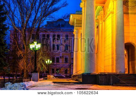 Winter Evening City Of Saratov With Colonnade Academic Theater Opera And Ballet Chernyshevsky