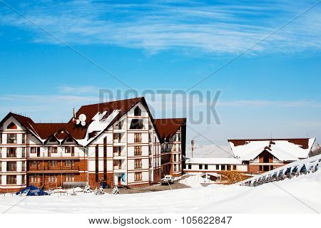 Wooden chalet view at Ski resort Ak Bulak