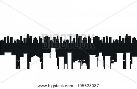Vector cities silhouette. Black and white cities silhouette. Cities silhouette small town, cityscape buildings. City silhouette, city vector illustration. Skyscrapers silhouette. Business center city