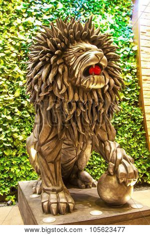 Lion statue near the entrance to City of dreams Casino, in Macau