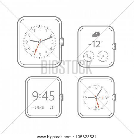 Modern digital watch dials template