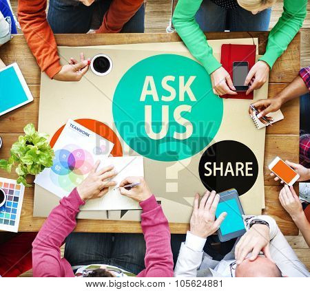 Ask us Customer Service Guidance Ideas Share Concept
