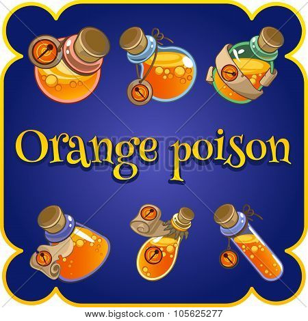 Set of six bottles with orange poison