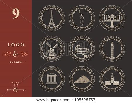 Set Vector Icons Of Travel And Sightseeing