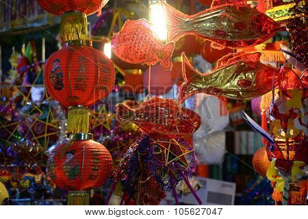 Lanterns in the market sale for Mid-Autumn festival ( Trung Thu ) in Hanoi ancient town, Vietnam.
