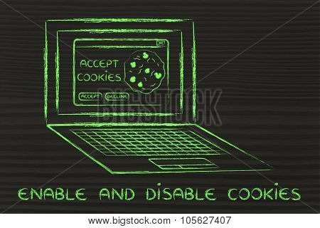 Laptop With Message About Cookies And Text Enable And Disable
