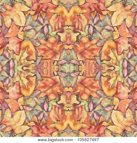 Foliage Painting Seamless Pattern. Kaleidoscopic Background.