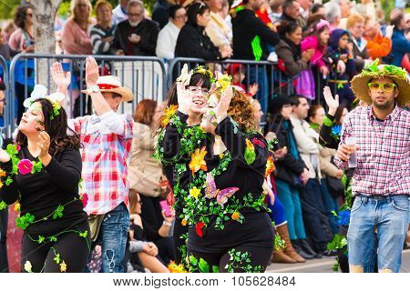 TENERIFE, FEBRUARY 17: Carnival groups and costumed characters, parade through the streets of the ci