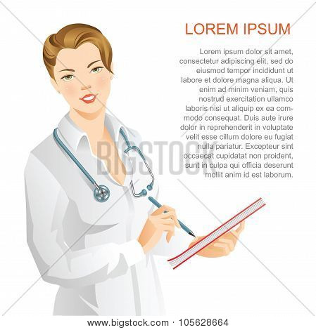 Woman doctor write in document.