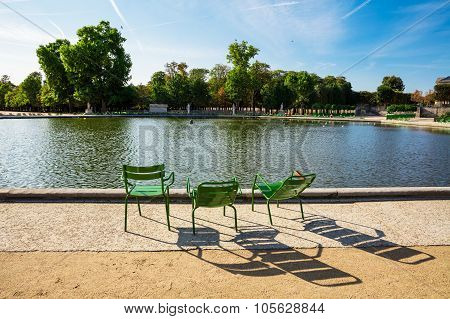 The Tuileries Garden, Looking From The Large Round Basin, Paris, France