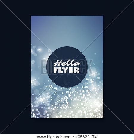 Hello Flyer - Flyer, Card or Cover Design with Sparkling Patter Background - Corporate Identity, Christmas, New Year or Ad Design Template