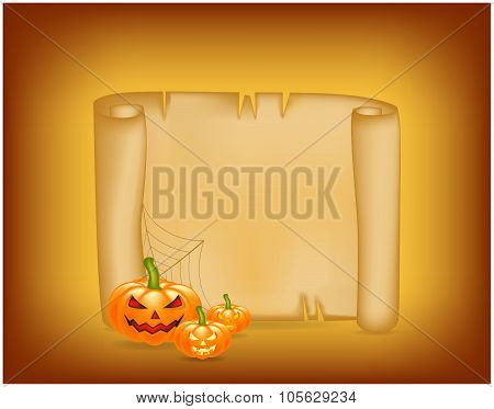 Halloween Banner, Card With Empty Paper Scroll And Pumpkin. Blank Ancient Scroll Of Parchment Wallpa