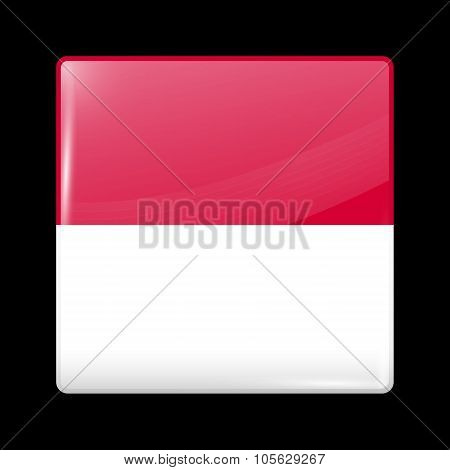 Flag Of Indonesia. Glassy Icon Square Shape