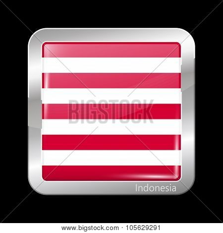 Indonesia Variant Flag Naval Ensign. Metallic Icon Square Shape