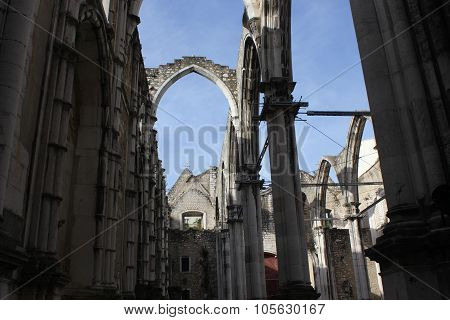 Inside The Ruins Of Carmo Convent In Lisbon
