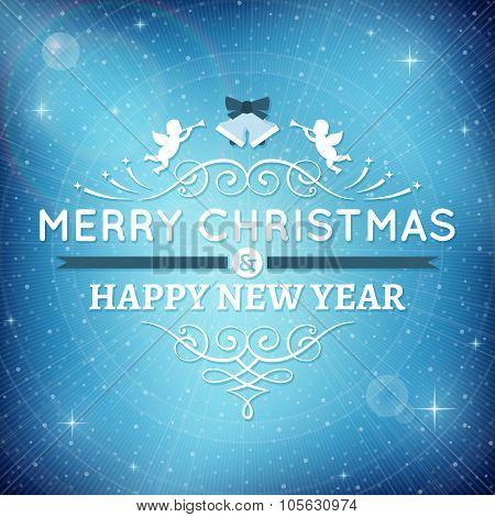 Sparkling Blue Christmas Card