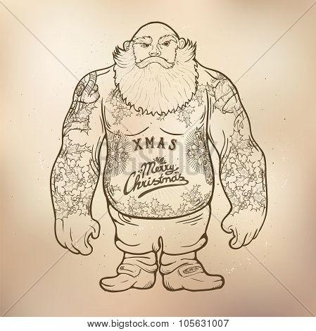 Xmas Santa with tattoos