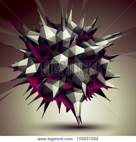Asymmetric 3D Abstract Object, Monochrome Geometric Spatial Form. Render And Modeling.