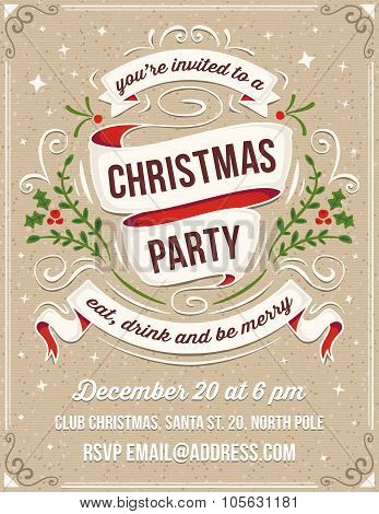 Hand Drawn Christmas Party Invitation With White Ribbons And Ornaments